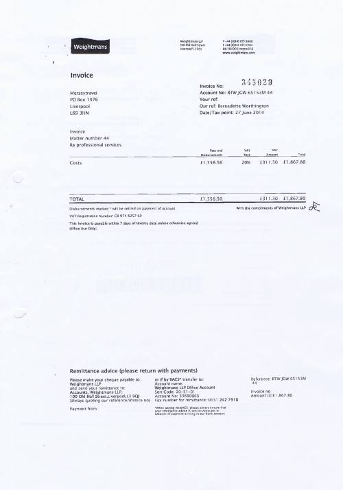 Merseytravel invoice Weightmans £1867.80 27th June 2014 Page 1 of 2
