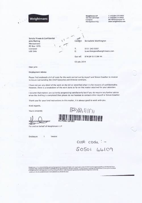 Merseytravel invoice Weightmans £1867.80 27th June 2014 Page 2 of 2