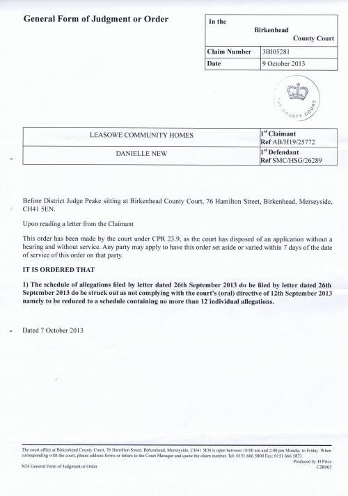 Birkenhead County Court order Leasowe Community Homes v Danielle New 9th October 2013