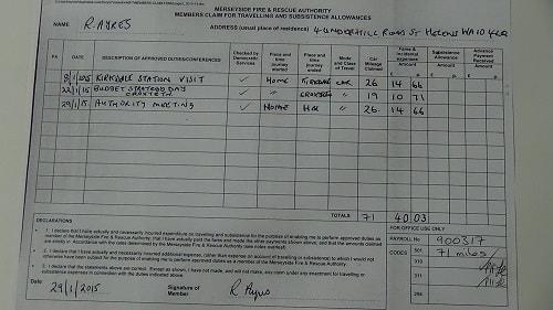 Cllr Ayres car mileage claim January 2015 thumbnail