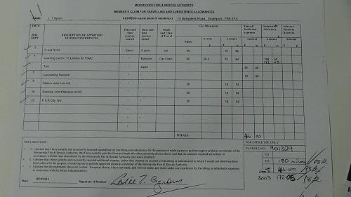 Cllr Leslie Byrom expense claim September 2014 page 1 of 2