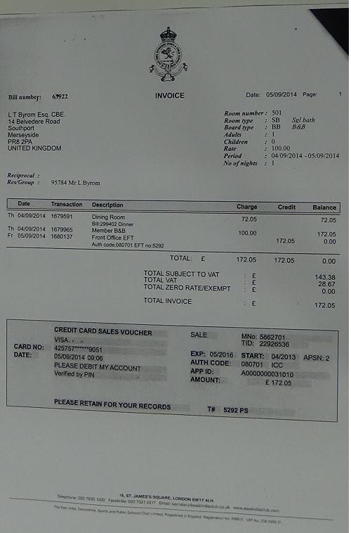 Cllr Leslie Byrom expense claim September 2014 page 2 of 2