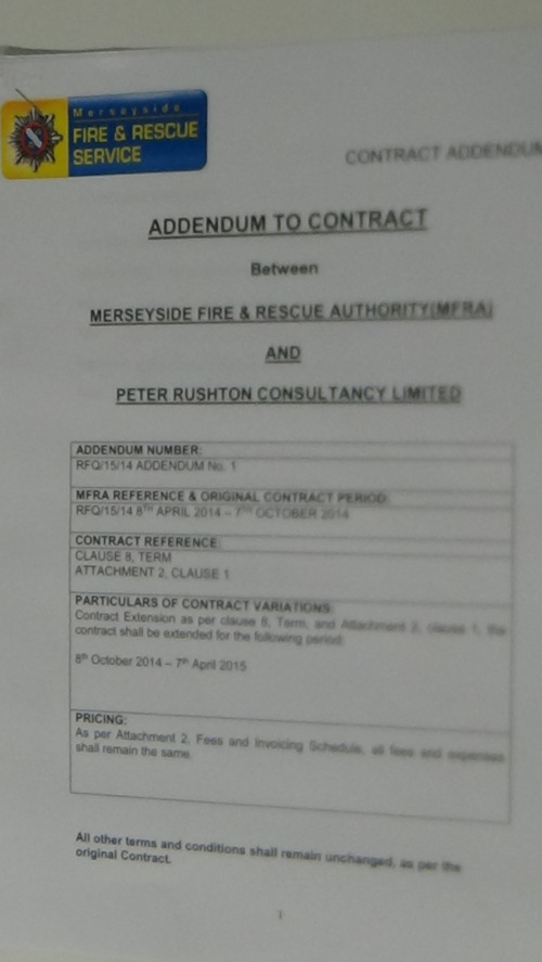 Contract Merseyside Fire and Rescue Authority and Peter Rushton Consultancy Limited addendum page 1 of 2