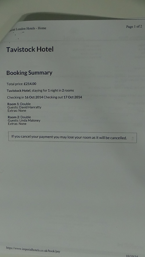 Invoice Tavistock Hotel Cllr Hanratty Cllr Maloney page 2