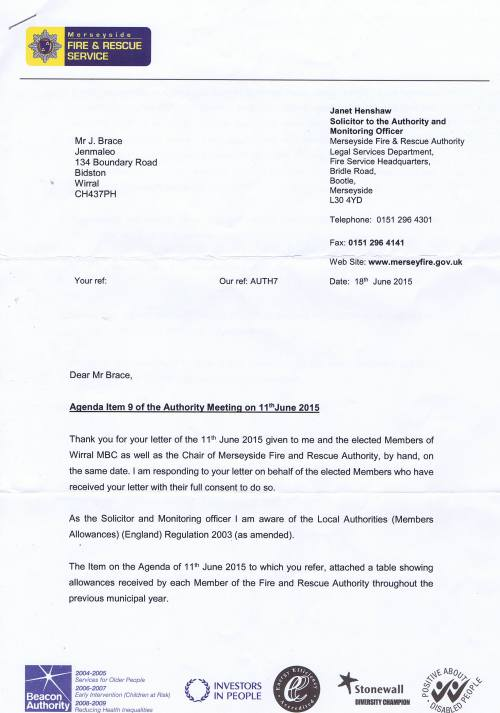 Merseyside Fire and Rescue service letter about councillor expenses page 1 of 2