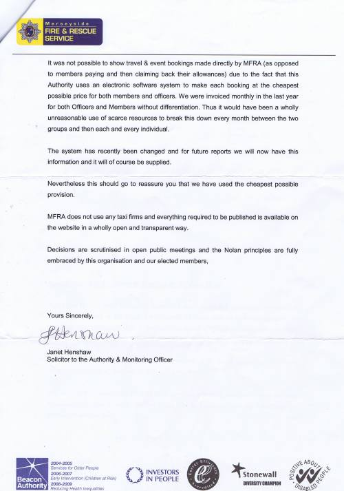 Merseyside Fire and Rescue service letter about councillor expenses page 2 of 2