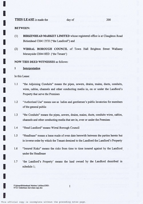 Birkenhead Market lease Birkenhead Market Limited Wirral Borough Council page 1 of 17 thumbnail