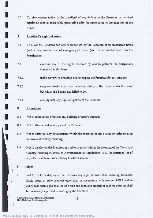Birkenhead Market lease Birkenhead Market Limited Wirral Borough Council page 11 of 17 thumbnail