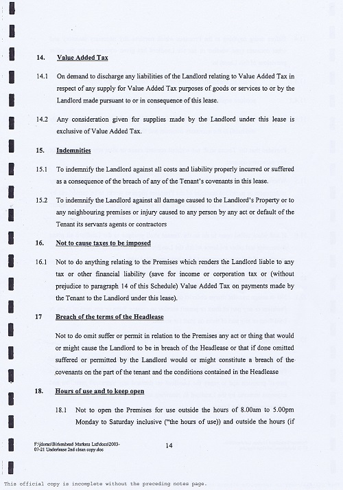 Birkenhead Market lease Birkenhead Market Limited Wirral Borough Council page 14 of 17 thumbnail