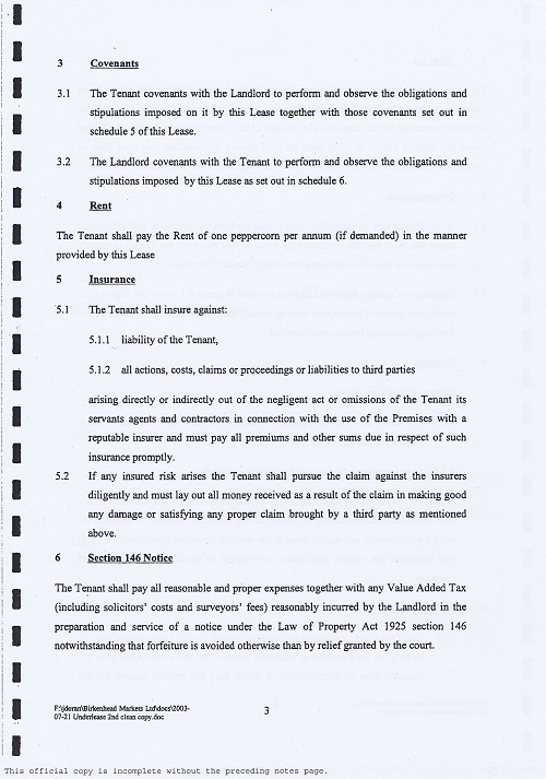 Birkenhead Market lease Birkenhead Market Limited Wirral Borough Council page 3 of 17 thumbnail