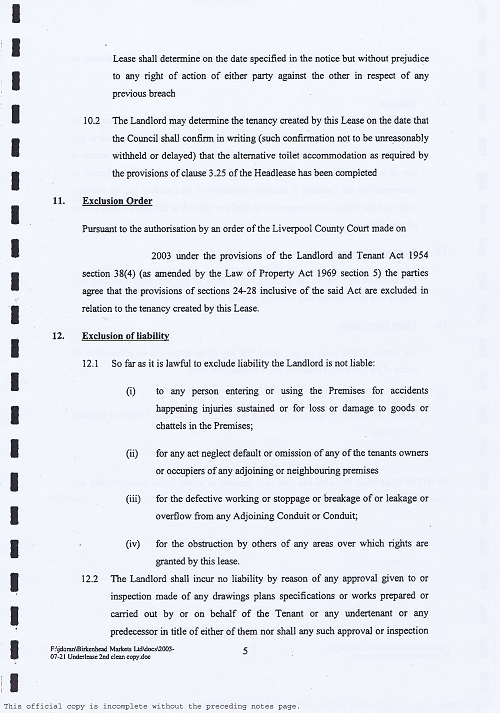 Birkenhead Market lease Birkenhead Market Limited Wirral Borough Council page 5 of 17 thumbnail