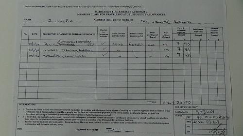 Cllr Ray Halpin car mileage expenses November 2014 thumbnail