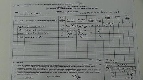 Cllr Roy Gladden car mileage expenses parking September October 2014 thumbnail