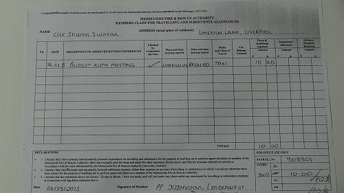 Councillor Sharon Sullivan taxi expense February 2015 thumbnail