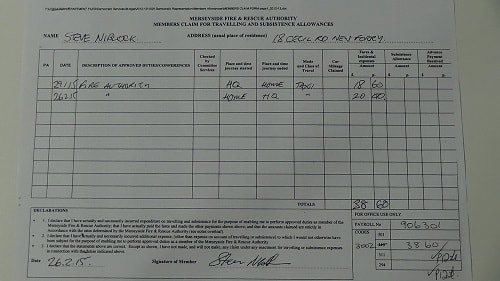 Councillor Steve Niblock expenses claim taxi journeys January February 2015 thumbnail