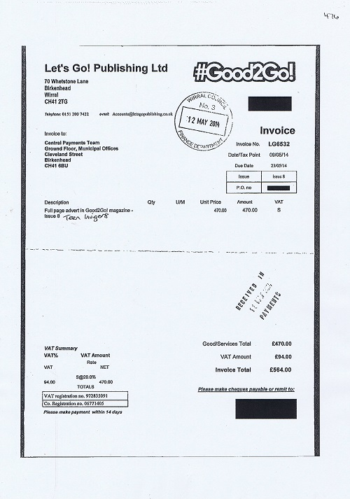 Wirral Council invoice 476 Lets Go Publishing Ltd Full page adverts Good2Go magazine Teen Invigor8 May 2014 £470 plus VAT thumbnail