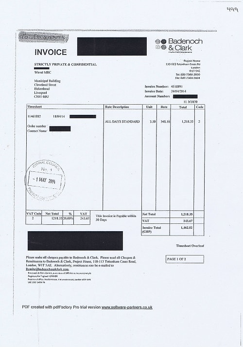 Wirral Council invoice 499 Badenoch and Clark April 2014 £1462.02 thumbnail