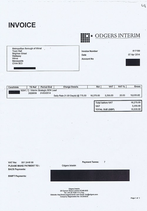 Wirral Council invoice 68 Odgers Interim April 2014 Interim Strategic SEN Lead 21 days @ £775 + VAT £19530 thumbnail