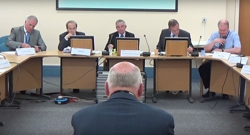 Wirral Council - Regeneration and Environment Committee Policy and Performance Committee 15th September 2015 - Councillor Chris Blakeley in the foreground explains his notice of motion on the Saughall Massie fire station